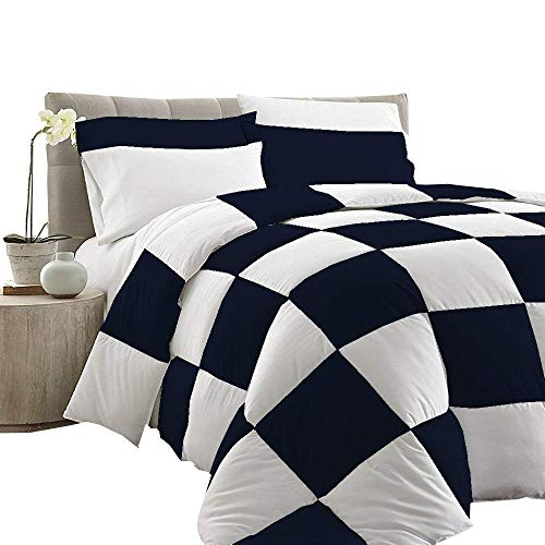 Rajlinen Grid Design Duvet Cover Sets - Navy Blue and White Queen Size Metric Checkered Design Ultra Soft 400 TC 5pc Duvet Quilt Cover Scandinavian Midcentury Modern Print 100-percent Cotton