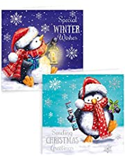 Tarjetas de Navidad de Alannahs, cuadradas, para Navidad, 6 a 32 paquetes, 10 unidades, diseño de pingüino pintado