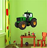 "24"" Green Farm Tractor #1 Wall Sticker Decal Graphic Art Childrens Toy Play Room Heavy Machinery Outdoors Game Man Cave Bedroom Office Living Room Decor NEW"