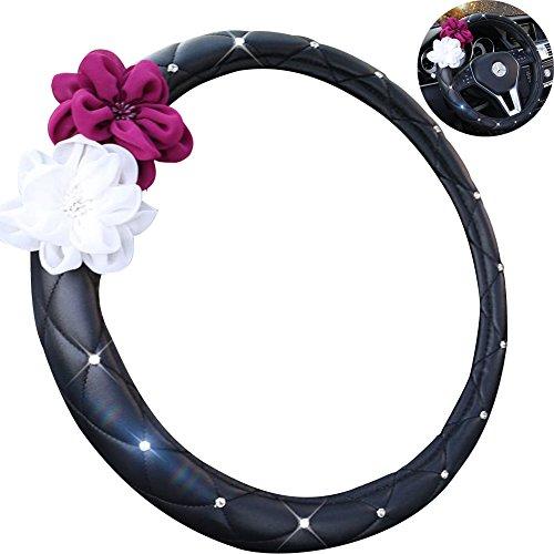 A.B Crew Advanced PU Leather Camellia Flower Car Steering Wheel Cover Wrap Car Interior Trim(PU Leather Black) -