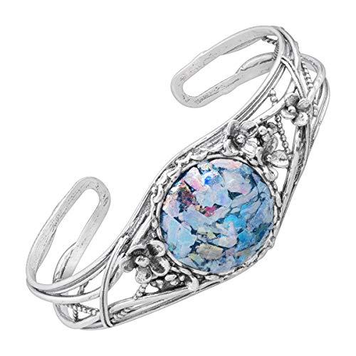 Silpada 'Belum' Roman Glass Floral Cuff Bracelet in Sterling Silver