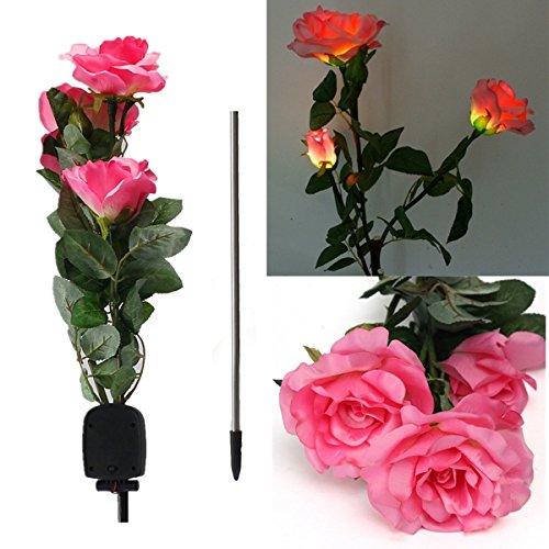 1 x Solar Power 3 LED Rose Flower Light Outdoor Garden Yard Lawn D?cor (Color Red)