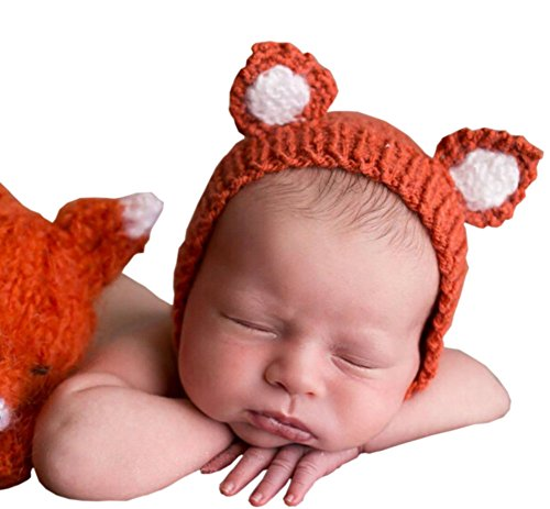 Pinbo Newborn Baby Knit Costume Outfits Photography Props Animal Little Fox Hat (Orange)