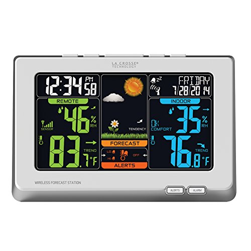 La Crosse Technology (C83332) Wireless Atomic Digital Color Weather Forecast Station with Alerts, 8.34L x 1.03W x 5.48H Inches - White by La Crosse Technology