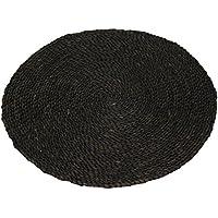 Oriental Furniture 2 ft. Woven Maize Area Rug - Black