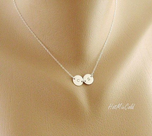 Initial Charm Necklace, Tiny Monogram Disc Jewelry / 925 Silver or 14k Gold filled or 14k Rose Gold filled, Mom and Child, Couple Jewelry, Sister, Best Friends Necklace