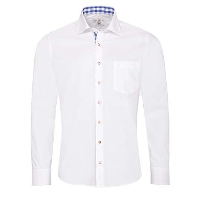 Almsach Trachtenhemd Eberhard Slim Fit in Weiß und Blau inklusive  Volksfestfinder, Größe S, c9d2653ff6