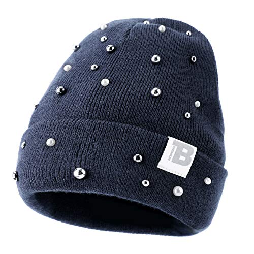 Women Warm Soft Knit Beanie, Double Layer, Stretch Durable Hat Cap with Fashion Decoration Navy ()