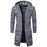 ManxiVoo Knit Sweater, Mens Slim Fit Hooded Knit Cardigan Sweater Fashion Cardigan Long Trench Coat Jacket (M, Gray)