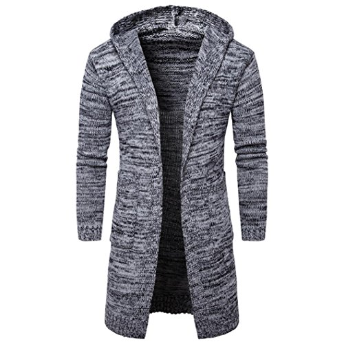 ManxiVoo Knit Sweater, Mens Slim Fit Hooded Knit Cardigan Sweater Fashion Cardigan Long Trench Coat Jacket (M, Gray) by ManxiVoo