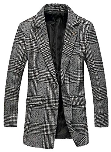 Edna Ho casual Mens Silm Fit Sing Breasted Wool Blend Casual Pea Coat CoffeeUS X-Large (Morph Suit Price)