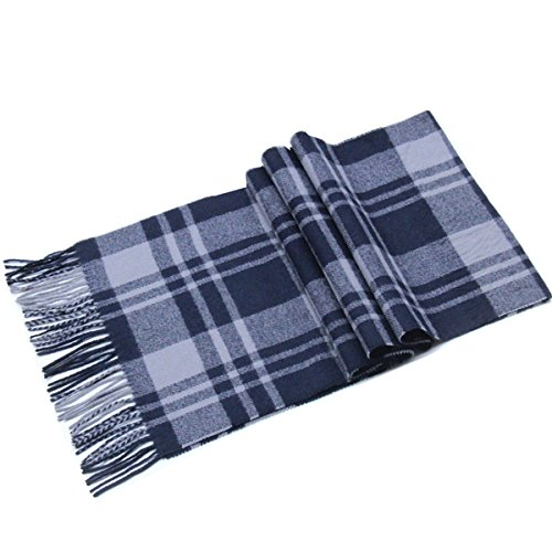 Lucky Leaf Women Men Winter Cozy 100% Wool Warm Tartan Checked Plaid Wrap Scarf with Gift Box