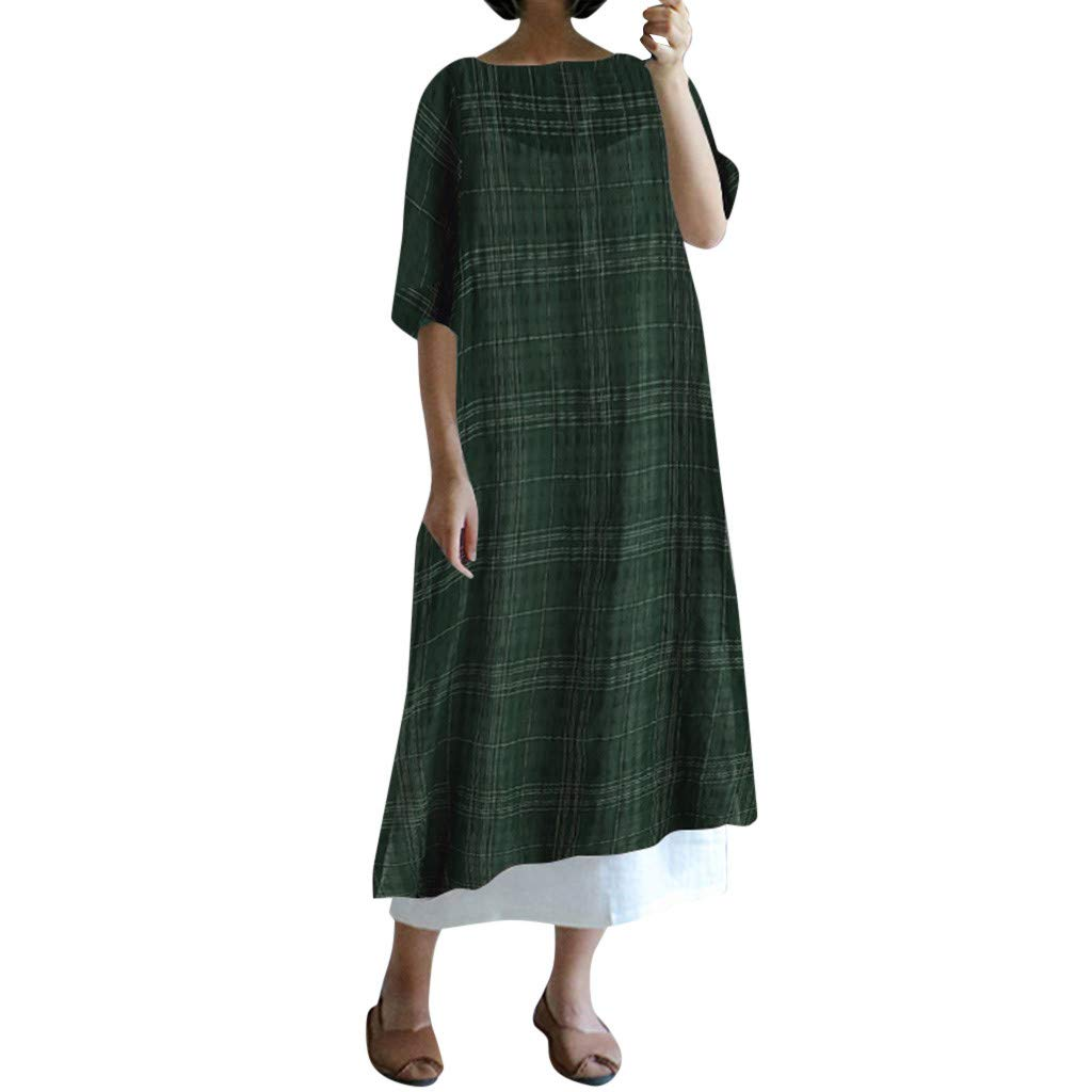 Women's Plus Size Cotton Linen Plaid Printed Maxi Dress Summer Casual Round-Neck Short Sleeve Wasit Strap Split Long Dress (Green, L) by Cealu