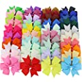40Piece Baby Boutique Grosgrain Ribbon Pinwheel Hair Bows With Clips For Teens Toddlers Kids