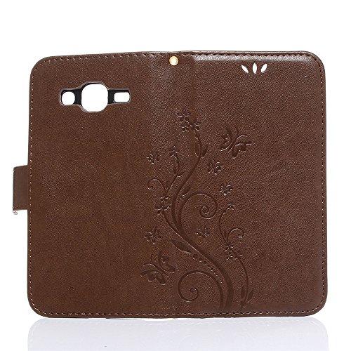 COOLKE Retro Mariposas Patrón PU Leather Wallet With Card Pouch Stand de protección Funda Carcasa Cuero Tapa Case Cover para Samsung Galaxy J2 (4.7) - Rose café marrón