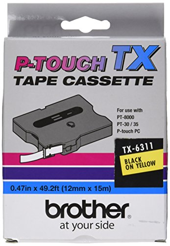 Brother TX6311 1/2in Black On Yellow for Pt-30/35/8000/pc