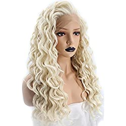 Anogol Hair Cap+Kinky Curly Platinum Blonde Lace Front Wig Synthetic Hair Long Spiral Curls Natural Hairline Wigs