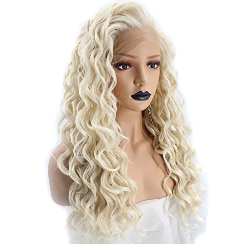 Anogol Hair Cap+Platinum Blonde Lace Front Wig with Free Part Synthetic Hair Wigs Long Curly Blonde Lace Front Wig for Women -