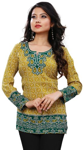 Long India Tunic Top Womens Kurti Printed Blouse Indian Clothing – S…Bust 34 inches, Gold