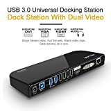 Wavlink USB 3.0 Universal Docking Station, Dual Video Monitor Display DVI & HDMI & DVI to 2048x1152, Gigabit Ethernet, Audio, 6 USB Ports for Laptop, Ultrabook and PCs