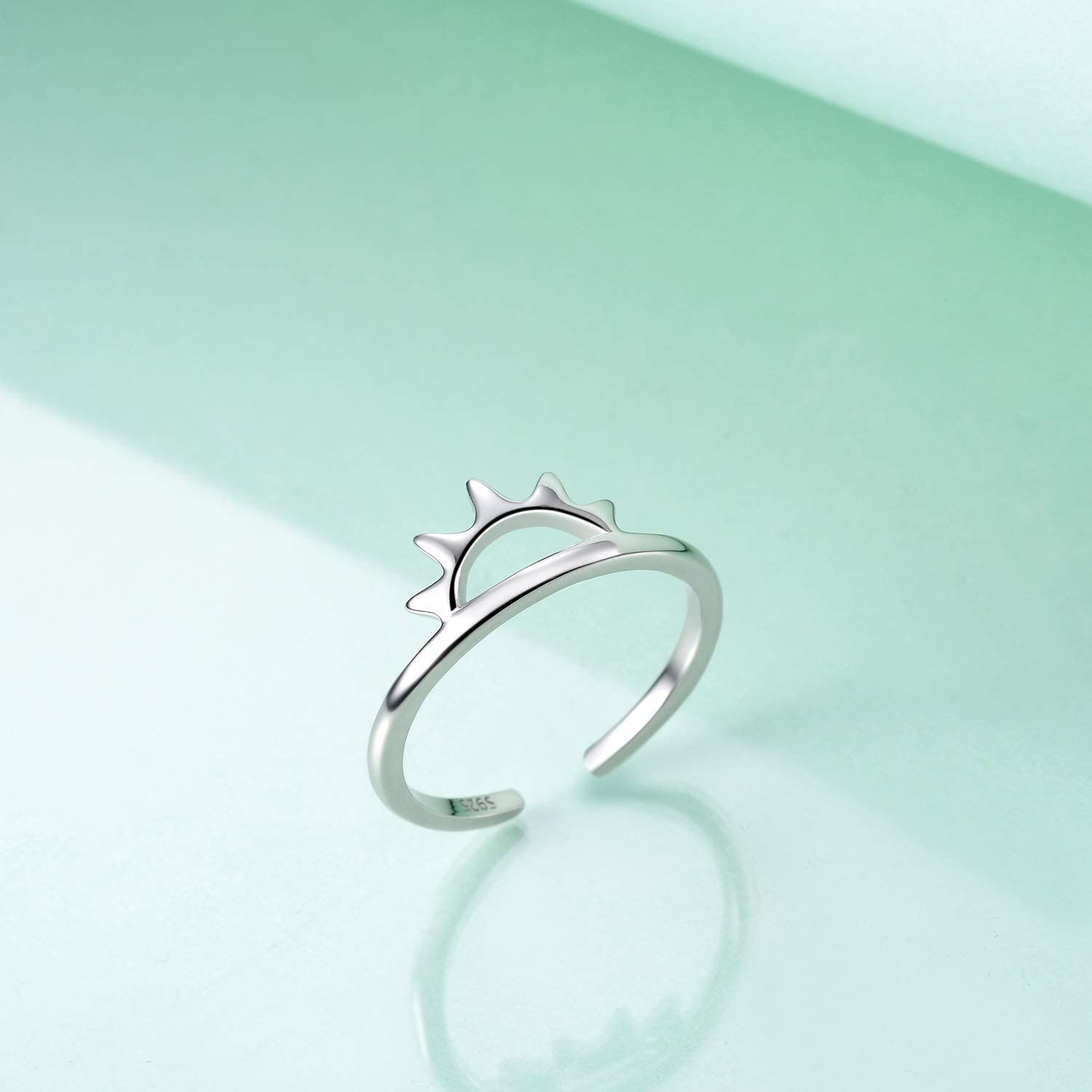 YFN 925 Sterling Silver Simple Ring Thin Band Adjustable Open Rings