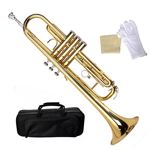 Bb Beginner Trumpet in Gold Silver Black Blue Purple or Red +Care Kit Beautiful and durable brass body Smooth action valves