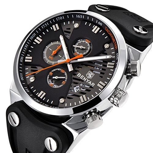(BENYAR 2018 Fashion Waterproof 30M Outdoor Multifunction Sports Chronograph Wrist Watch Calendar Men's Quartz Watches (Silver Orange))