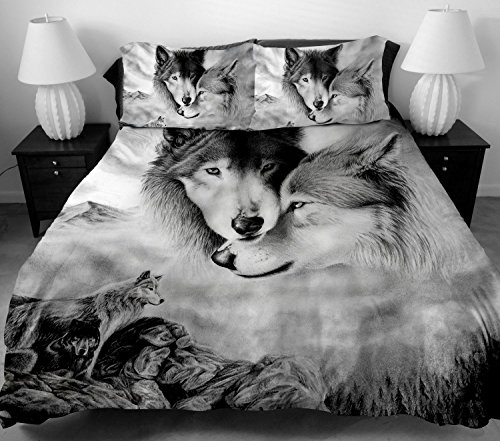 ANOLE 3 Pcs Soft Luxury Youth 100% Polyester Shell Fully Reversible 3-Piece Modern 3D WOLF Print Duvet Cover Set Twin Size Full Size Queen Size King Size Gray for Girls,boys, Kids No Comforter (Full)