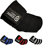 Sedroc Sports Weight Lifting Elbow Wraps Powerlifting Support Sleeves Straps - Pair (Black)