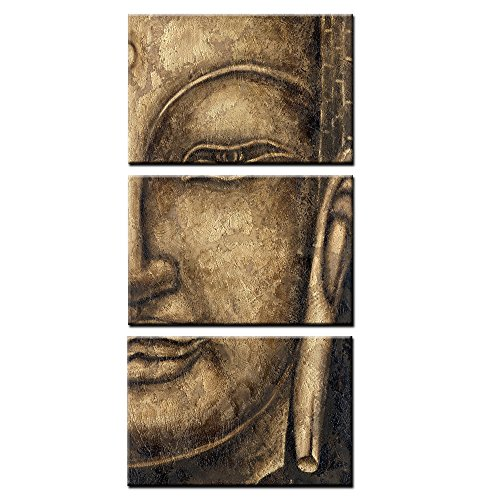 - KuyiArt- 3 Panels Canvas Art, Figure of Buddha, Framed Art and Prints for Wall Decoration, Canvas Wall Art Prints, Giclee Canvas Prints (30x60inch)