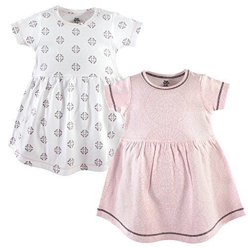 Yoga Sprout Baby Girls' Cotton Dress, 2 Pack, Scroll, 3 Toddler -