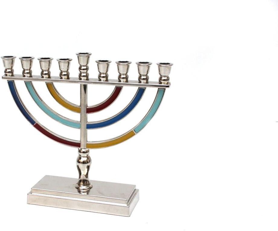 5.5 Quality Judaica Modern Hanukkah Menorah with Enamel Finish Multi Colored