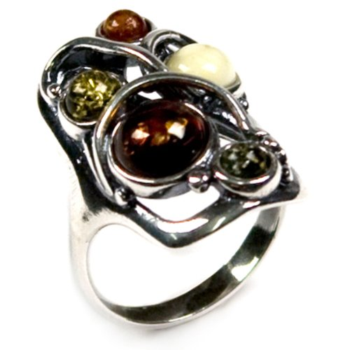 (Multicolor Amber and Sterling Silver Designer Ring)