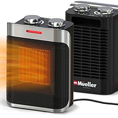 Mueller Portable Heater 750W/1500W Ceramic Space Heater, High Output Fan, Adjustable Thermostat, with overheat/tip over protection for Home Bedroom or Office, ETL Cerified