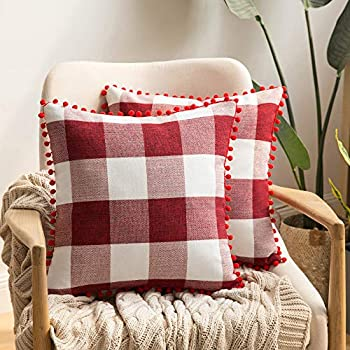 MIULEE Set of 2 Christmas Retro Farmhouse Buffalo Plaid Check Pillow Cases with Pom-poms Decorative Throw Pillow Covers Cushion Case for Sofa Couch 18x18 Inch Red and White