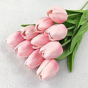Montout 12PCS/Set PU Stunning Holland Tulip Flower Real Touch Artificial Silk Flowers Arrangement Bouquet Home Room Office Wedding Party Decor (Pink) 3