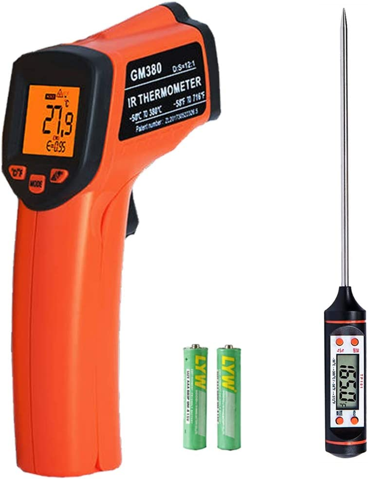 Kjzeex Digital Laser Infrarot Thermometer IR Pyrometer ber/ührungslos Temperaturmessger/ät Temperaturmesser LCD Beleuchtung