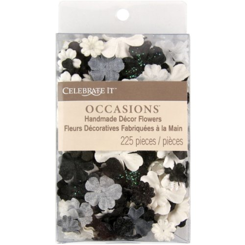 Prima Marketing Celebrate It Handmade Paper Flower Confetti 225/Pkg-Black, White & Gray Mix ()