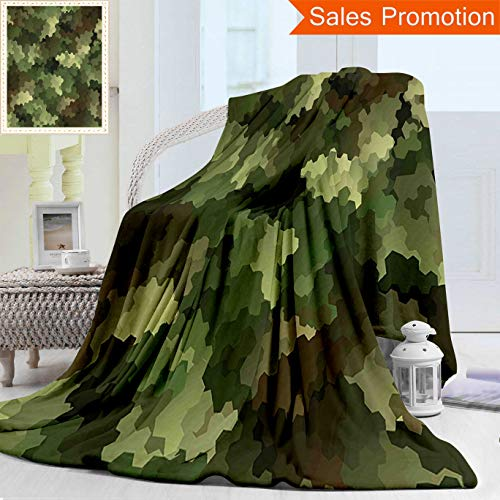 """Blanket Woodland Camouflage Receiving - Unique Double Sides 3D Print Flannel Blanket Camo Frosted Glass Effect Hexagonal Abstract Being Invisible Woodland Army Green Ligh Cozy Plush Supersoft Blankets for Couch Bed, Throw Blanket 50"""" x 60"""""""