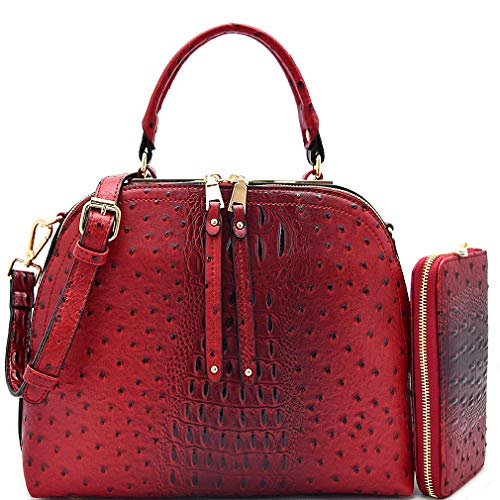 Le Miel Ostrich Embossed Satchel w/ 2 Zip Compartments, Strap + Wallet (Red)