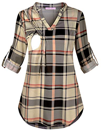 JOYMOM Postpartum Clothes for Women,Feminine Chic Plaid Trapeze Flare Breastfeeding T-Shirt Maternity 3/4 Sleeve Nursing Peasant Blouse Latched Mama Feeding Tunics Tops Beige - T-shirts Sleeve 3/4 Maternity