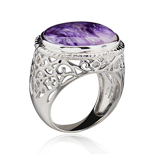 Sterling Silver Oval Shaped Charoite Fancy Filigree Solitaire Ring Sz 5