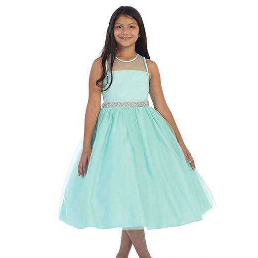 1b933bdc44 Little Girls Aqua Illusion Neckline Rhinestone Tulle Flower Girl Dress 2