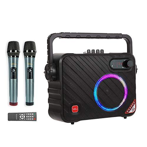 VeGue Máquina de Karaoke Portátil con Bluetooth para Adultos y Niños, Altavoz de Karaoke Inalámbrico con 2 Micrófonos…