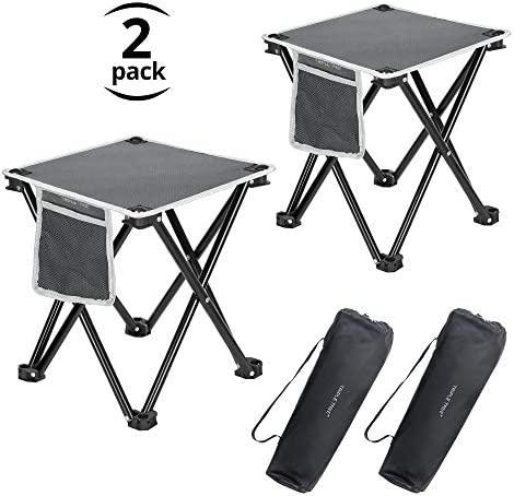 Boreeman Upgraded Folding Stool Lightweight Yet More Sturdy with Load Capacity 400lbs Portable Collapsible Stool Retractable Stool for Camping Fishing Hiking BBQ Black