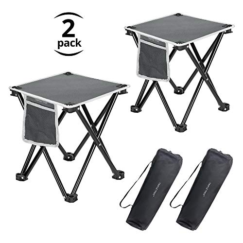 TRIPLE TREE Folding Stool, 2 Pack Portable Camping Stool for Outdoor Walking Hiking Fishing 400 LBS Capacity with Carry Bag 13.8 Inch Height