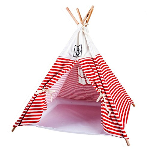 Lovely summer Washable Durable Navy Stripe Style Pet House Tent and Pet Bed Mat for Little Dogs and Cats Red
