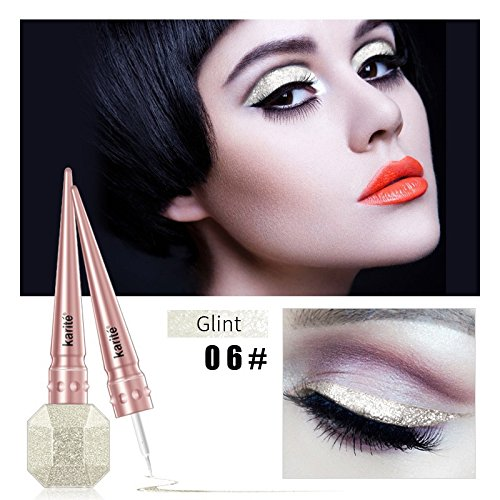 Professional Waterproof Pencil Pen Liquid Eyeshadow Glitter Eye Pencil Shimmer Diamond Pigment Makeup Liquid Eyeliners 06Glint by WGRTT