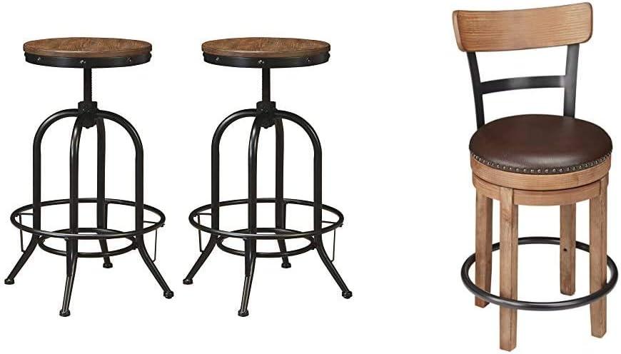 Ashley Furniture Signature Design - Pinnadel Bar Stool - Pub Height - Set of 2 - Rustic Brown & Signature Design by Ashley Pinnadel Swivel Counter Height Single Stool, Brown