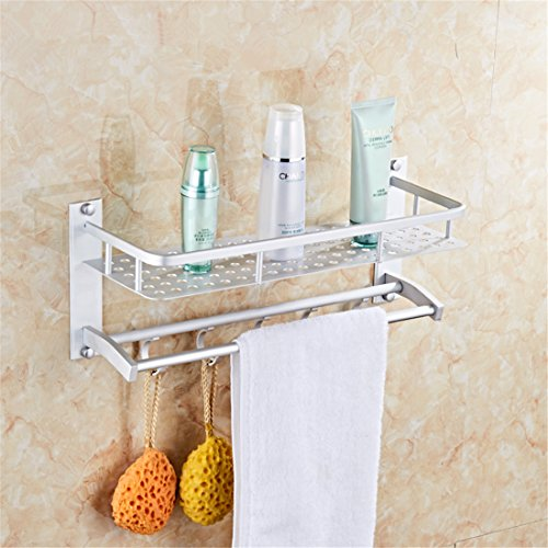 Wall Mounted Aluminum Bathroom Shelves Shower Caddy with 2 T